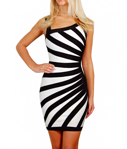 zebra-one-shoulder-bandageklanning